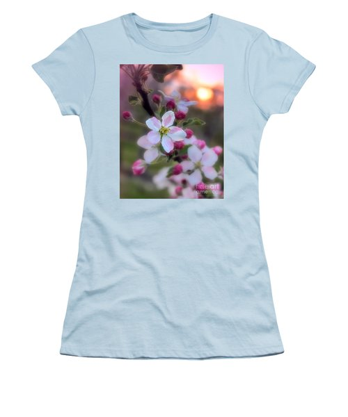 Women's T-Shirt (Junior Cut) featuring the photograph Apple Blossom Sunrise by Henry Kowalski