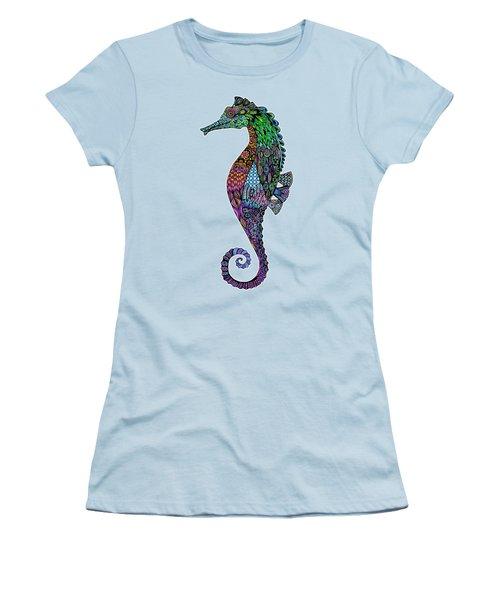 Electric Gentleman Seahorse Women's T-Shirt (Junior Cut) by Tammy Wetzel