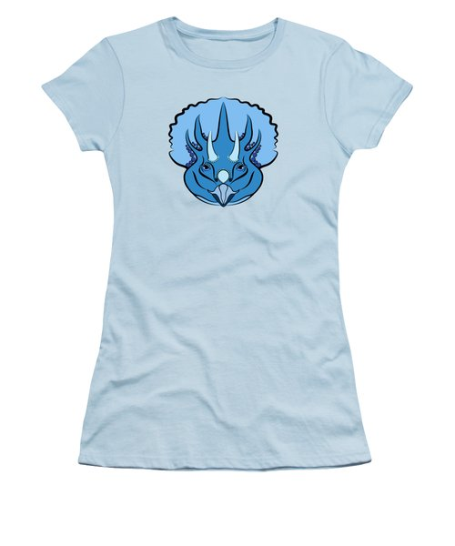 Triceratops Graphic Blue Women's T-Shirt (Junior Cut) by MM Anderson