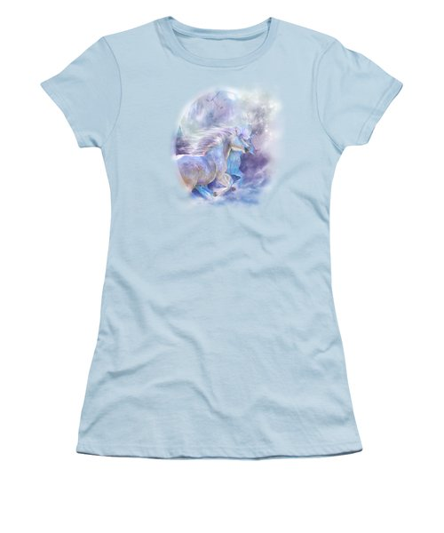 Women's T-Shirt (Junior Cut) featuring the mixed media Unicorn Soulmates by Carol Cavalaris