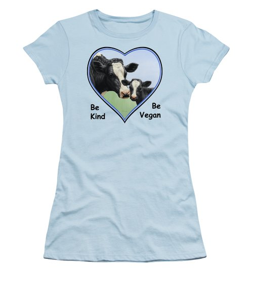 Holstein Cow And Calf Blue Heart Vegan Women's T-Shirt (Junior Cut) by Crista Forest