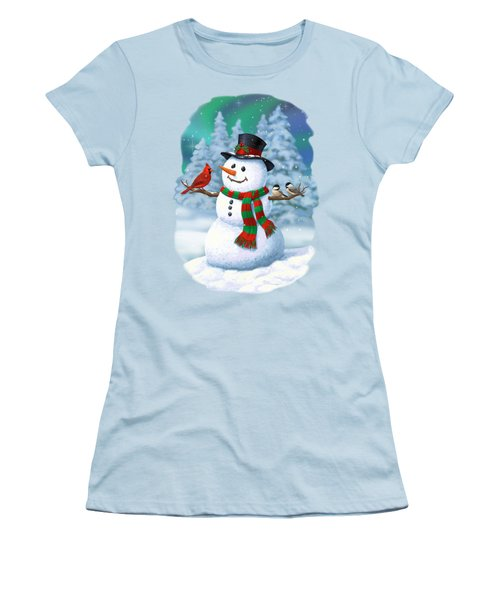 Sharing The Wonder - Christmas Snowman And Birds Women's T-Shirt (Junior Cut) by Crista Forest
