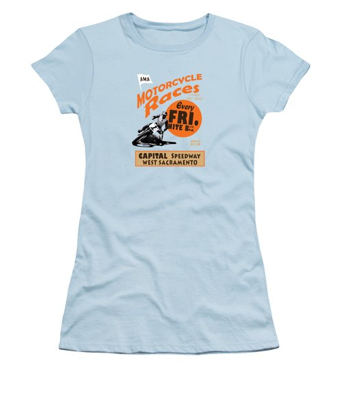 Motorcycle Speedway Races Women's T-Shirt (Junior Cut) by Mark Rogan