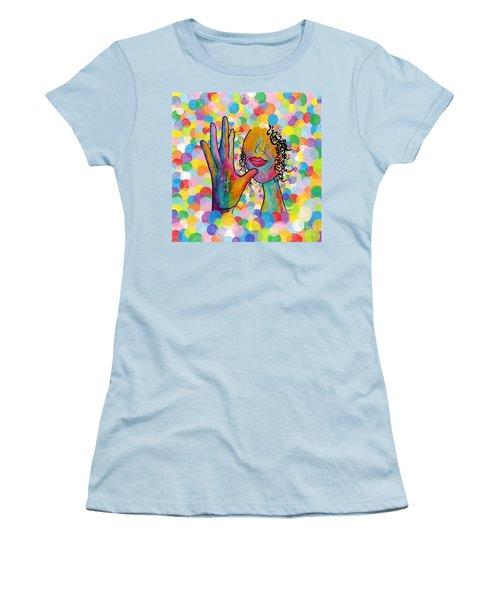 Asl Mother On A Bright Bubble Background Women's T-Shirt (Junior Cut) by Eloise Schneider