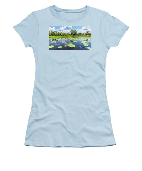 Atchaflaya Basin Reflection Pool Women's T-Shirt (Junior Cut) by Andy Crawford