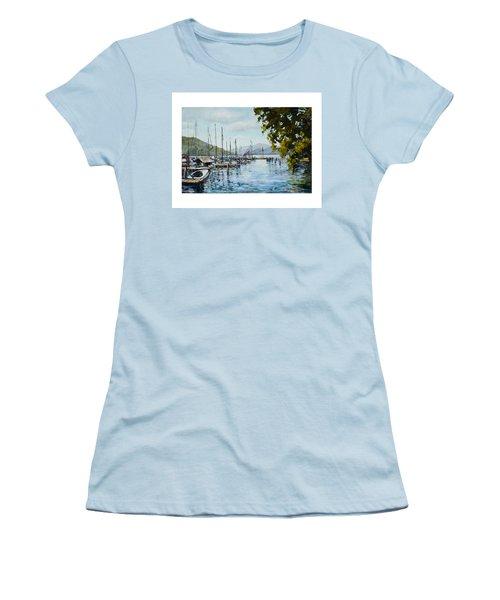 Attersee Austria Women's T-Shirt (Junior Cut) by Alexandra Maria Ethlyn Cheshire