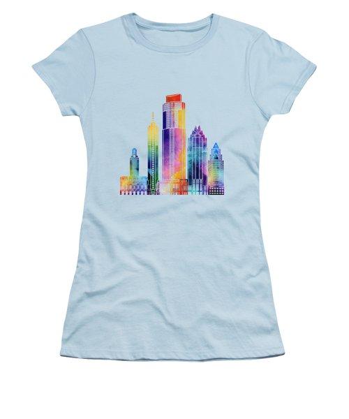Austin Landmarks Watercolor Poster Women's T-Shirt (Junior Cut) by Pablo Romero