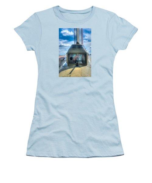Women's T-Shirt (Junior Cut) featuring the photograph B17 Tail Gunner Position by Gary Slawsky