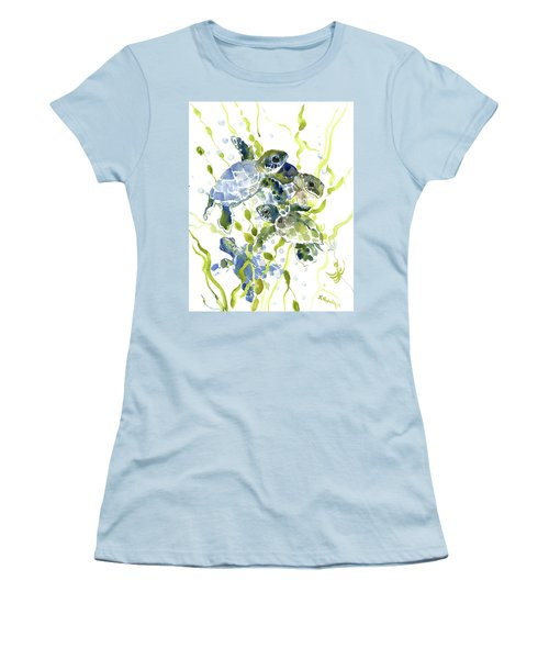Baby Sea Turtles In The Sea Women's T-Shirt (Athletic Fit)