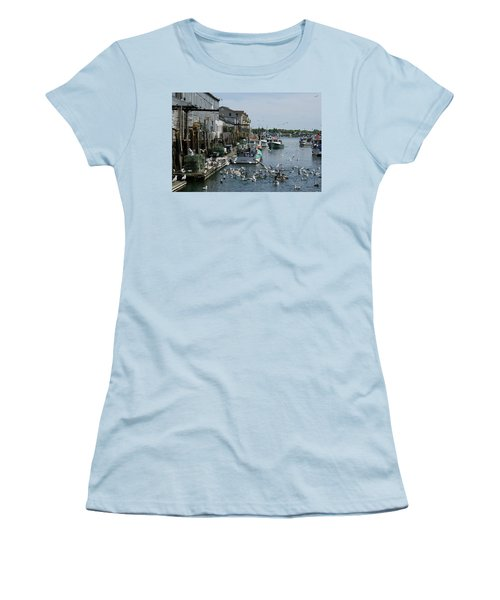 Women's T-Shirt (Athletic Fit) featuring the photograph Back At The Dock by Lynda Lehmann
