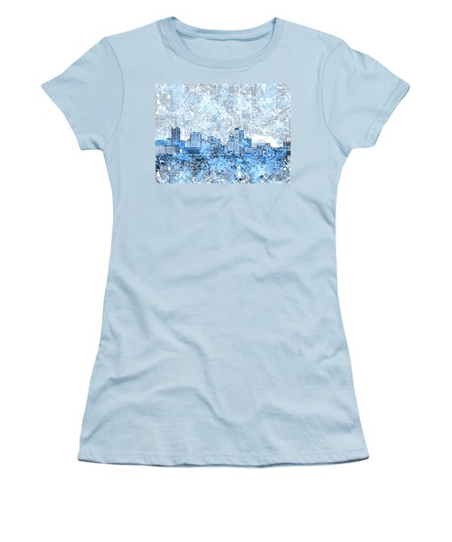 Women's T-Shirt (Junior Cut) featuring the painting Baltimore Skyline Watercolor 9 by Bekim Art