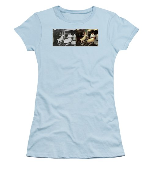 Women's T-Shirt (Junior Cut) featuring the photograph Barber - A Time Honored Tradition 1941 - Side By Side by Mike Savad