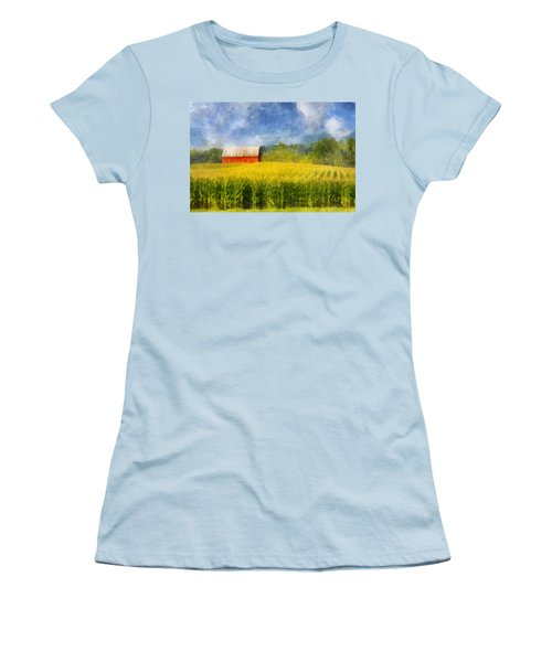 Barn And Cornfield Women's T-Shirt (Junior Cut) by Francesa Miller