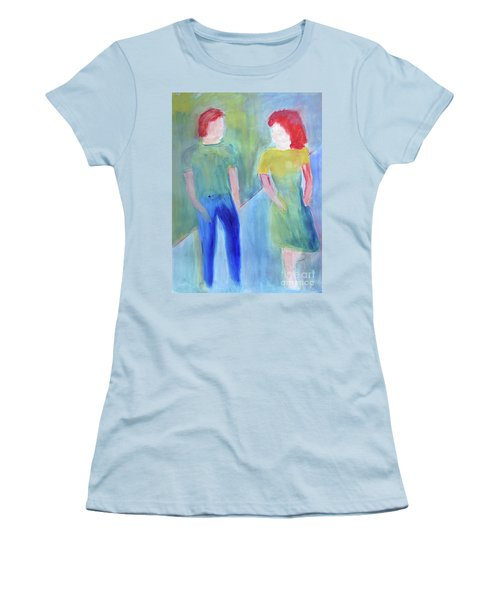 Women's T-Shirt (Junior Cut) featuring the painting Barney And Elizabeth by Sandy McIntire