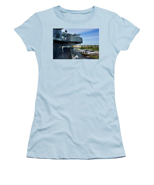 Battleship View Of Wilmington Nc Women's T-Shirt (Junior Cut) by Denis Lemay
