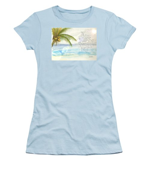 Women's T-Shirt (Athletic Fit) featuring the digital art Beach Etching by Darren Cannell