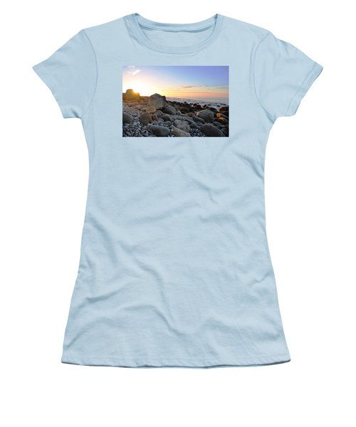 Beach Sunrise Over Rocks Women's T-Shirt (Junior Cut) by Matt Harang