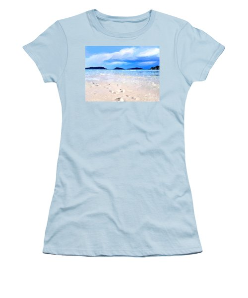 Women's T-Shirt (Junior Cut) featuring the digital art Beach Walk by Anthony Fishburne