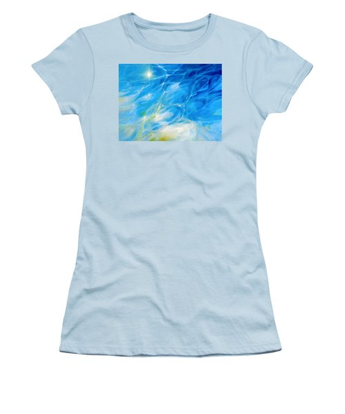 Women's T-Shirt (Junior Cut) featuring the painting Becoming Crystal Clear by Dina Dargo
