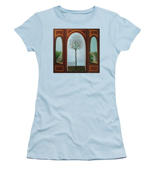 Women's T-Shirt (Junior Cut) featuring the painting Belgian Triptyck by Tone Aanderaa