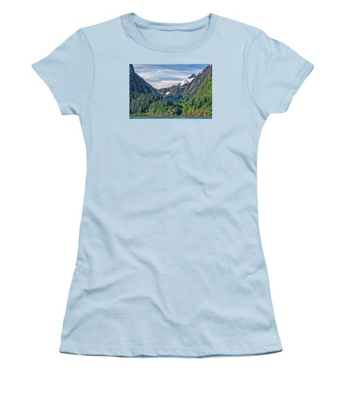 Between The Peaks Women's T-Shirt (Junior Cut) by Lewis Mann