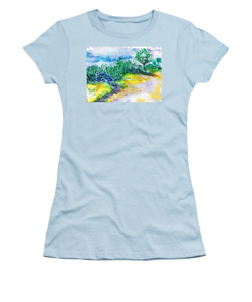 Women's T-Shirt (Junior Cut) featuring the drawing Beyond The Clouds by Seth Weaver