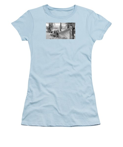 Women's T-Shirt (Junior Cut) featuring the photograph Beyond The Icy Gate - Menominee North Pier Lighthouse by Mark J Seefeldt