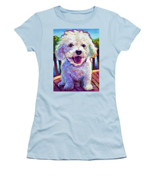 Women's T-Shirt (Junior Cut) featuring the painting Bichon Frise by Robert Phelps