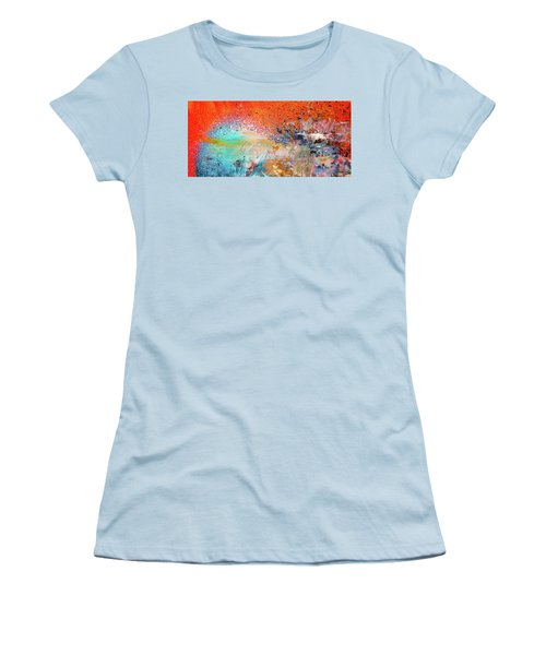 Big Shot - Orange And Blue Colorful Happy Abstract Art Painting Women's T-Shirt (Athletic Fit)