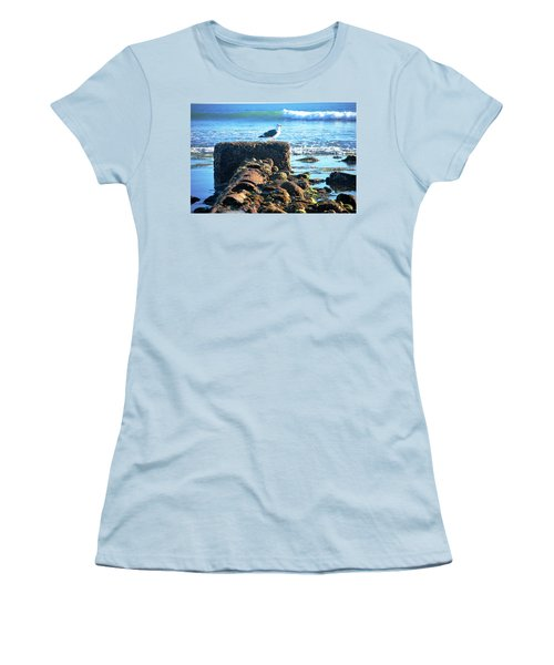 Bird On Perch At Beach Women's T-Shirt (Junior Cut) by Matt Harang