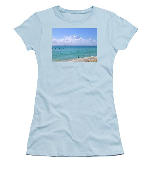 Women's T-Shirt (Athletic Fit) featuring the photograph Birds On The Beach M4 by Francesca Mackenney