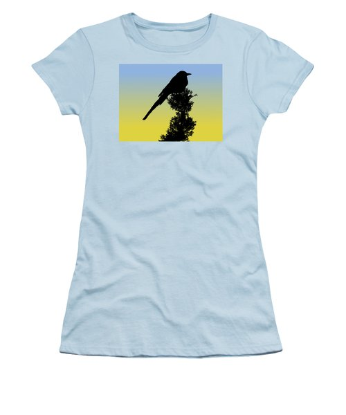 Black-billed Magpie Silhouette At Sunrise Women's T-Shirt (Athletic Fit)