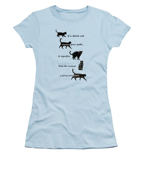Black Cat Crossing Women's T-Shirt (Athletic Fit)