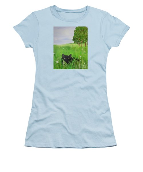 Black Cat In A Meadow Women's T-Shirt (Athletic Fit)