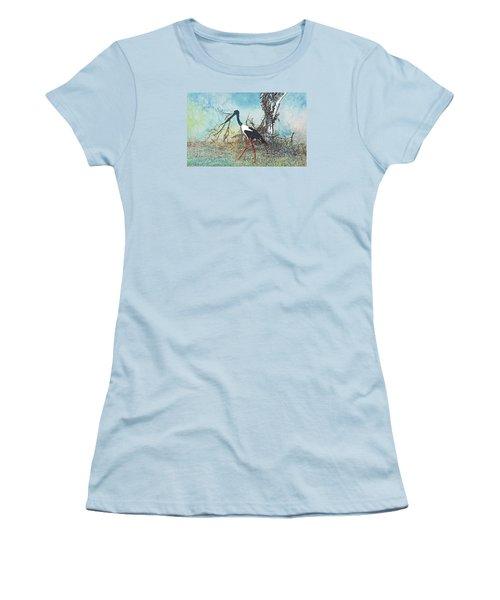 Black Neck Stork  Women's T-Shirt (Junior Cut) by Manjot Singh Sachdeva