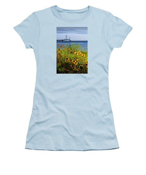Blooming Flowers By The Bridge At The Straits Of Mackinac Women's T-Shirt (Athletic Fit)