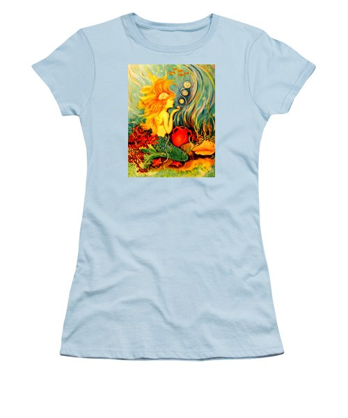 Women's T-Shirt (Junior Cut) featuring the painting Blowing Bubbles by Yolanda Rodriguez