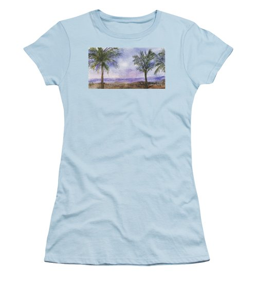 Women's T-Shirt (Junior Cut) featuring the painting Blowing By The Ocean by Vicki  Housel