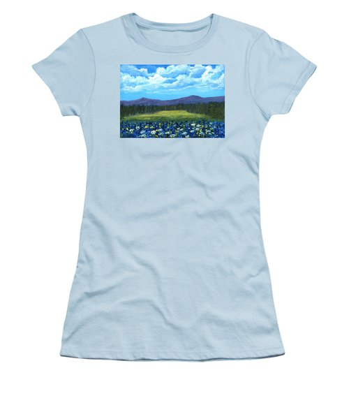 Women's T-Shirt (Athletic Fit) featuring the painting Blue Afternoon by Anastasiya Malakhova