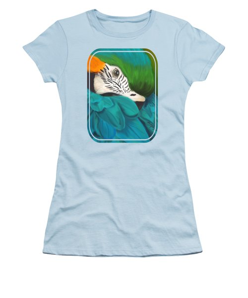 Blue And Gold Macaw Women's T-Shirt (Junior Cut) by Becky Herrera