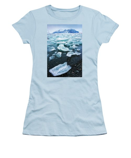 Women's T-Shirt (Junior Cut) featuring the photograph Blue And Turquoise Ice Jokulsarlon Glacier Lagoon Iceland by Matthias Hauser