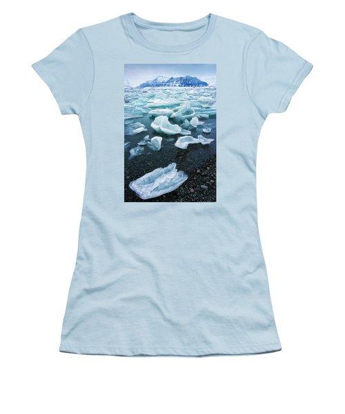 Blue And Turquoise Ice Jokulsarlon Glacier Lagoon Iceland Women's T-Shirt (Junior Cut) by Matthias Hauser