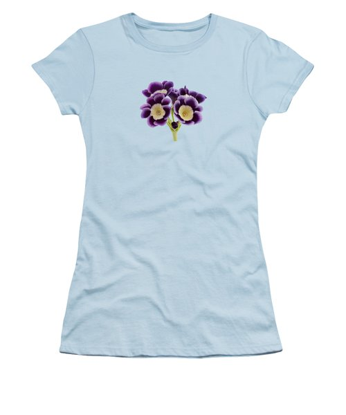 Women's T-Shirt (Junior Cut) featuring the photograph Blue Auricula On A Transparent Background by Paul Gulliver