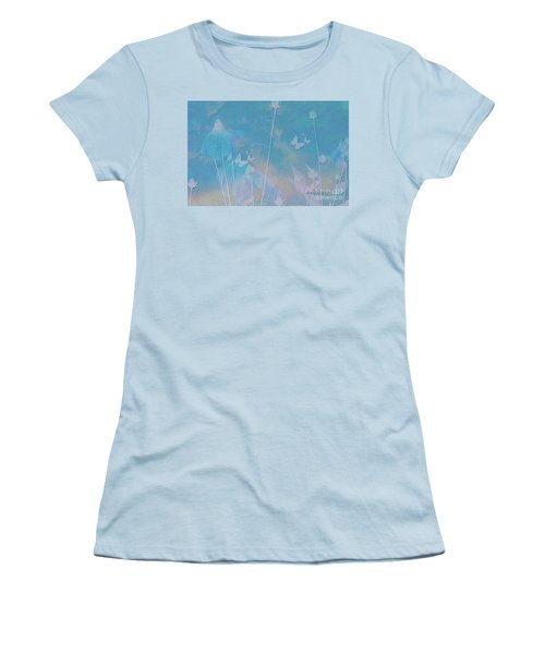 Blue Daisies And Butterflies Women's T-Shirt (Athletic Fit)