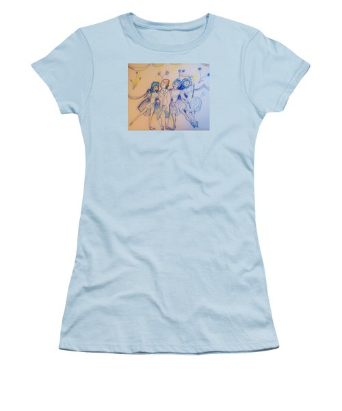 Blue Flower Polka Women's T-Shirt (Junior Cut) by Judith Desrosiers