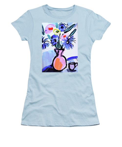 Blue Flowers And Coffee Cup Women's T-Shirt (Athletic Fit)