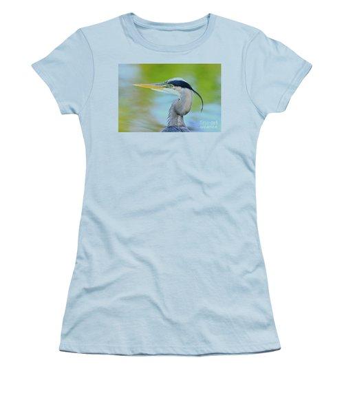 Women's T-Shirt (Junior Cut) featuring the photograph Blue Heron Portrait 2017 by Deborah Benoit