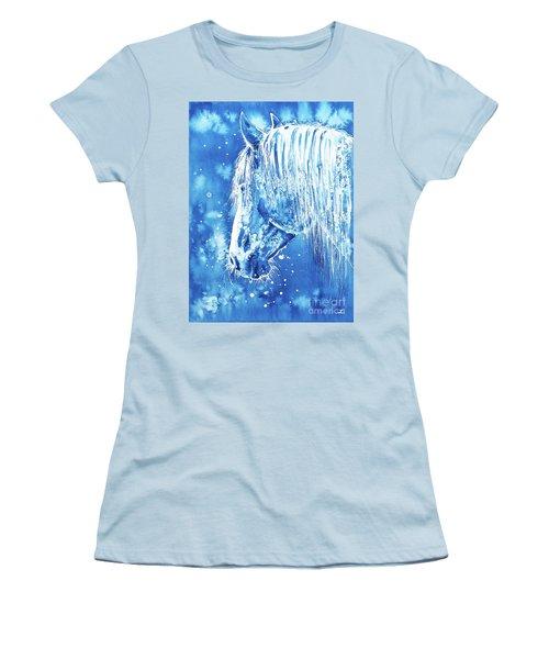 Women's T-Shirt (Athletic Fit) featuring the painting Blue Horse by Zaira Dzhaubaeva