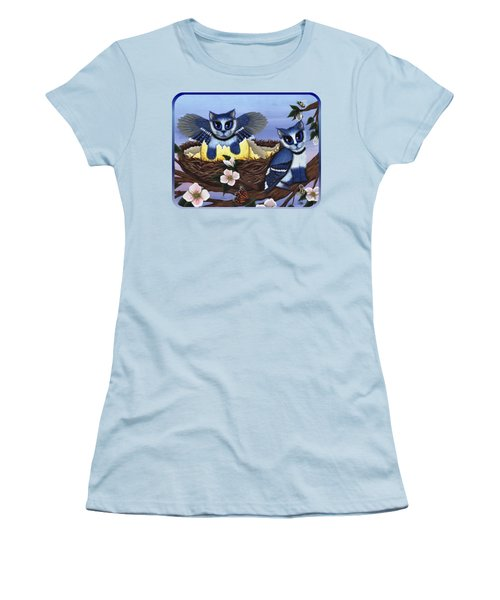 Blue Jay Kittens Women's T-Shirt (Junior Cut) by Carrie Hawks