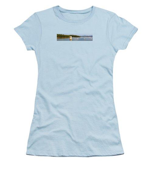 Women's T-Shirt (Junior Cut) featuring the photograph Blue Ridge Dam - Panoramic by Michael Waters